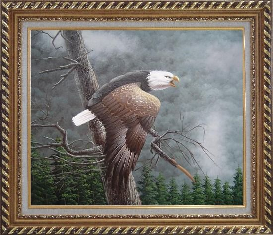 Framed Flying American Bald Eagle and Forest Oil Painting Animal Naturalism Exquisite Gold Wood Frame 26 x 30 Inches
