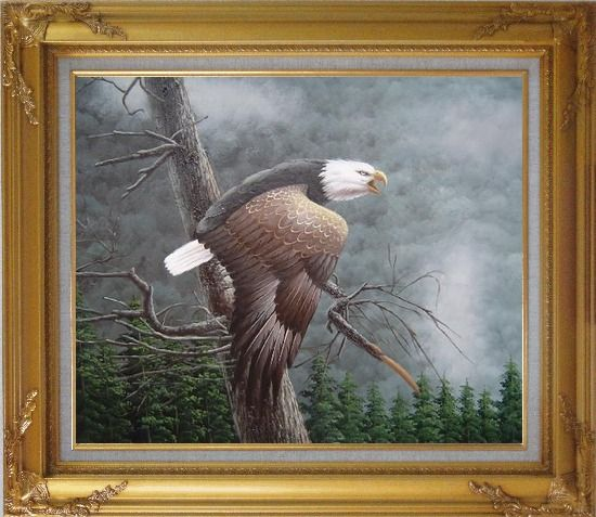 Framed Flying American Bald Eagle and Forest Oil Painting Animal Naturalism Gold Wood Frame with Deco Corners 27 x 31 Inches