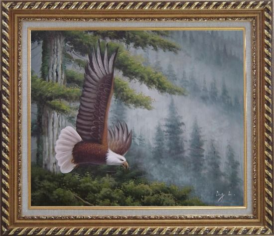 Framed American Bald Eagle and Mountain Forest Oil Painting Animal Naturalism Exquisite Gold Wood Frame 26 x 30 Inches