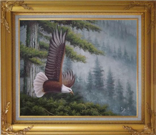 Framed American Bald Eagle and Mountain Forest Oil Painting Animal Naturalism Gold Wood Frame with Deco Corners 27 x 31 Inches