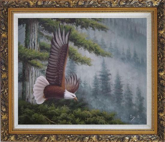 Framed American Bald Eagle and Mountain Forest Oil Painting Animal Naturalism Ornate Antique Dark Gold Wood Frame 26 x 30 Inches