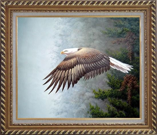 Framed Bald Eagle, Mountain and Forest Oil Painting Animal Naturalism Exquisite Gold Wood Frame 26 x 30 Inches