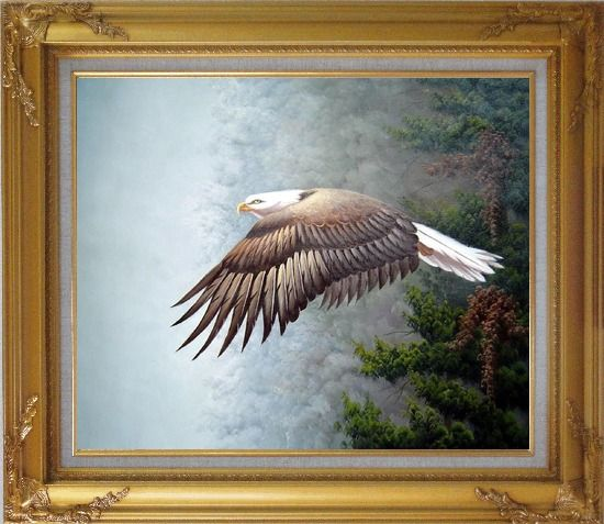 Framed Bald Eagle, Mountain and Forest Oil Painting Animal Naturalism Gold Wood Frame with Deco Corners 27 x 31 Inches