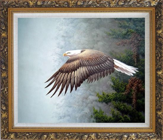 Framed Bald Eagle, Mountain and Forest Oil Painting Animal Naturalism Ornate Antique Dark Gold Wood Frame 26 x 30 Inches