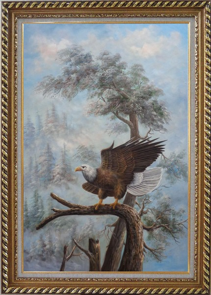 Framed A Graceful Bald Eagle Stop on A Tree Oil Painting Animal Naturalism Exquisite Gold Wood Frame 42 x 30 Inches
