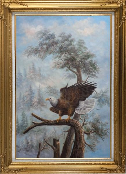 Framed A Graceful Bald Eagle Stop on A Tree Oil Painting Animal Naturalism Gold Wood Frame with Deco Corners 43 x 31 Inches