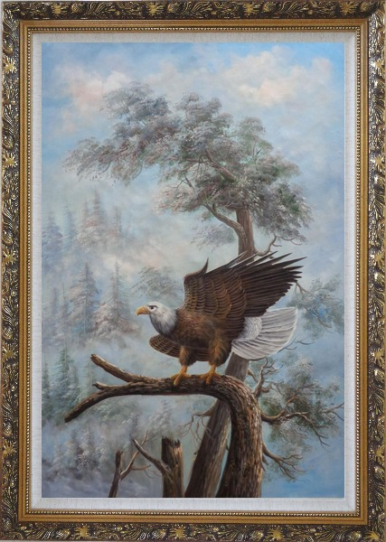 Framed A Graceful Bald Eagle Stop on A Tree Oil Painting Animal Naturalism Ornate Antique Dark Gold Wood Frame 42 x 30 Inches