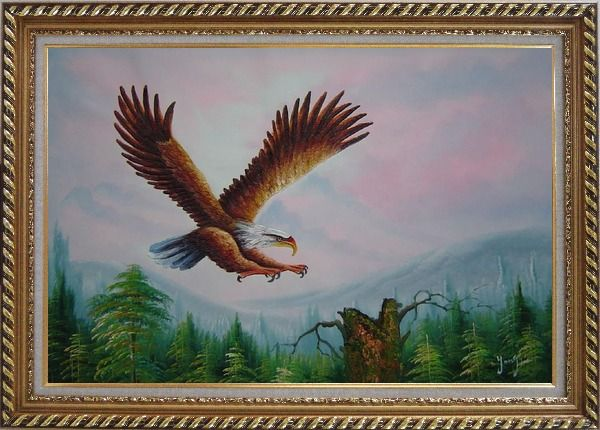 Framed Bald Eagle over Forest Oil Painting Animal Naturalism Exquisite Gold Wood Frame 30 x 42 Inches