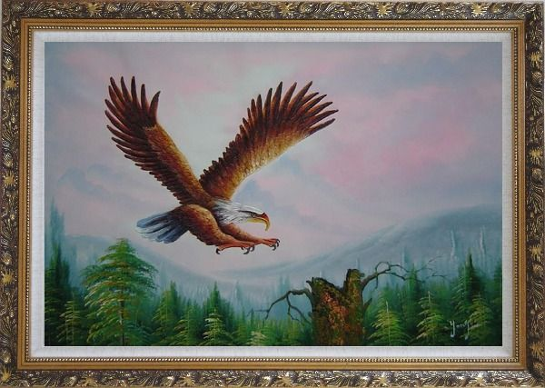 Framed Bald Eagle over Forest Oil Painting Animal Naturalism Ornate Antique Dark Gold Wood Frame 30 x 42 Inches