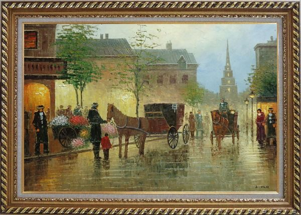 Framed Horse Carriages And Peoples On Street at Dusk Oil Painting Cityscape Impressionism Exquisite Gold Wood Frame 30 x 42 Inches