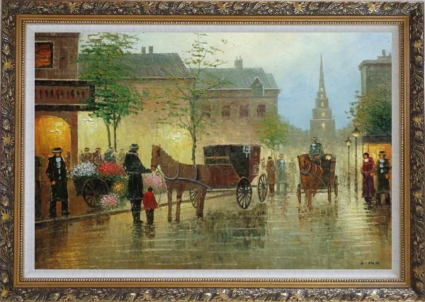 Framed Horse Carriages And Peoples On Street at Dusk Oil Painting Cityscape Impressionism Ornate Antique Dark Gold Wood Frame 30 x 42 Inches