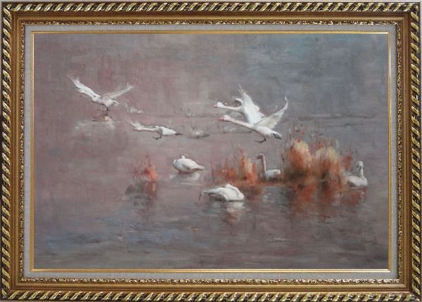 Framed A Group of Swans Taking off from Swamp Oil Painting Animal Impressionism Exquisite Gold Wood Frame 30 x 42 Inches