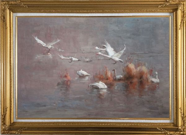 Framed A Group of Swans Taking off from Swamp Oil Painting Animal Impressionism Gold Wood Frame with Deco Corners 31 x 43 Inches