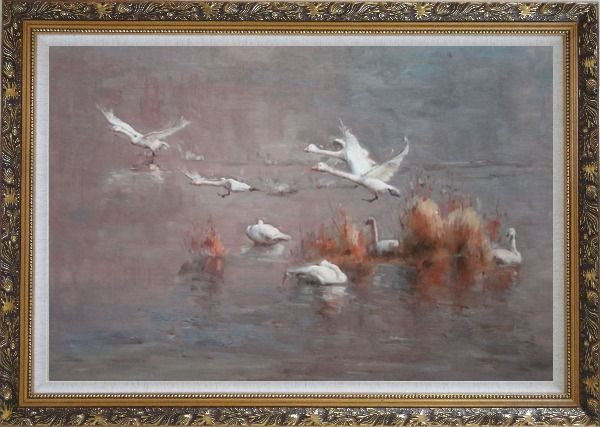 Framed A Group of Swans Taking off from Swamp Oil Painting Animal Impressionism Ornate Antique Dark Gold Wood Frame 30 x 42 Inches