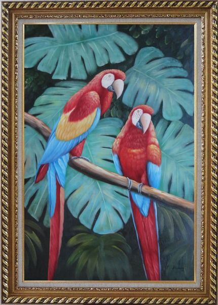 Framed Pair of Blue-and-red Macaws on Tree Branch Oil Painting Animal Parrot Naturalism Exquisite Gold Wood Frame 42 x 30 Inches