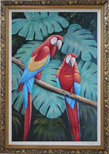 Framed Pair of Blue-and-red Macaws on Tree Branch Oil Painting Animal Parrot Naturalism Ornate Antique Dark Gold Wood Frame 42 x 30 Inches