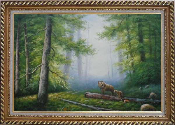 Framed Bear Mother and Child Wandering in Deep Forest Oil Painting Animal Classic Exquisite Gold Wood Frame 30 x 42 Inches