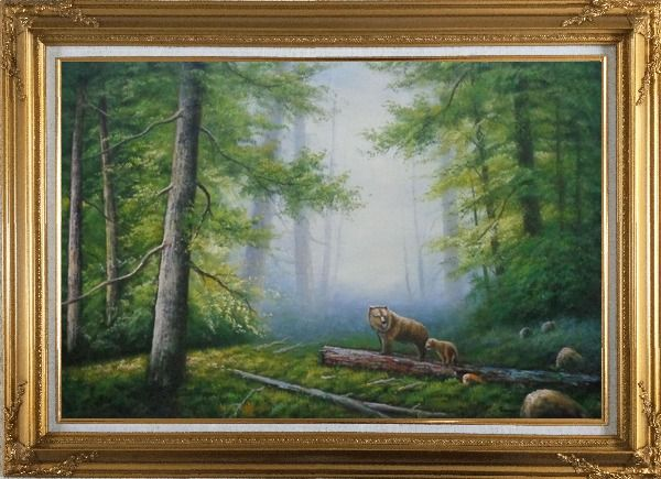 Framed Bear Mother and Child Wandering in Deep Forest Oil Painting Animal Classic Gold Wood Frame with Deco Corners 31 x 43 Inches