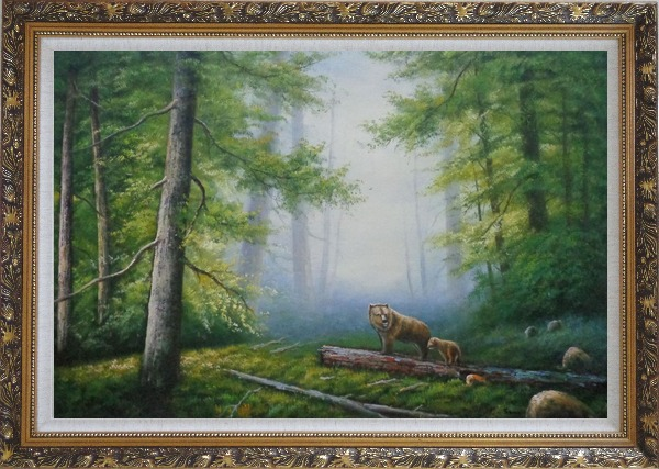 Framed Bear Mother and Child Wandering in Deep Forest Oil Painting Animal Classic Ornate Antique Dark Gold Wood Frame 30 x 42 Inches