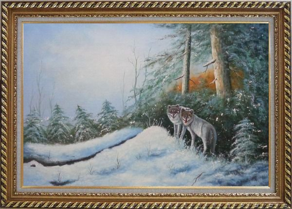 Framed Pair of Wolves in Snow Forest Oil Painting Animal Wolf Naturalism Exquisite Gold Wood Frame 30 x 42 Inches