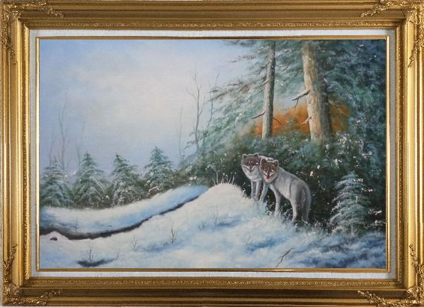 Framed Pair of Wolves in Snow Forest Oil Painting Animal Wolf Naturalism Gold Wood Frame with Deco Corners 31 x 43 Inches