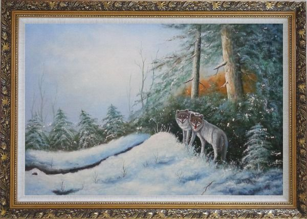 Framed Pair of Wolves in Snow Forest Oil Painting Animal Wolf Naturalism Ornate Antique Dark Gold Wood Frame 30 x 42 Inches