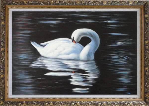 Framed Beautiful White Swan Sleeps On The Dark Water Oil Painting Animal Naturalism Ornate Antique Dark Gold Wood Frame 30 x 42 Inches