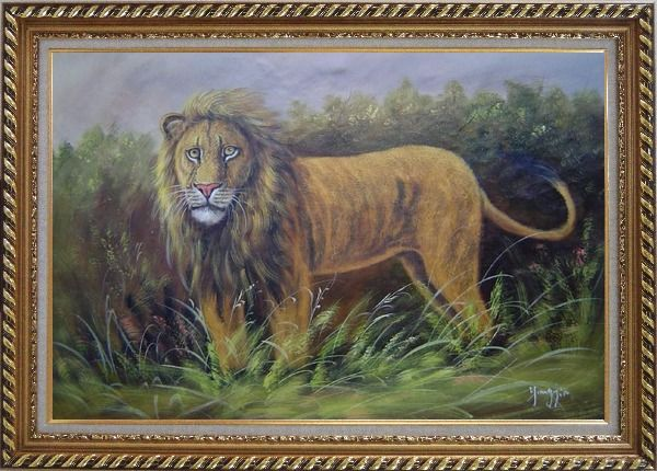 Framed The Lion King in Jungle Field Oil Painting Animal Naturalism Exquisite Gold Wood Frame 30 x 42 Inches
