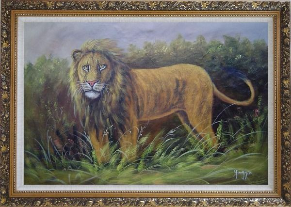 Framed The Lion King in Jungle Field Oil Painting Animal Naturalism Ornate Antique Dark Gold Wood Frame 30 x 42 Inches