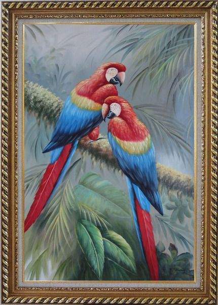 Framed Two Lovely Parrots Singing On a Old Tree Branch Oil Painting Animal Naturalism Exquisite Gold Wood Frame 42 x 30 Inches