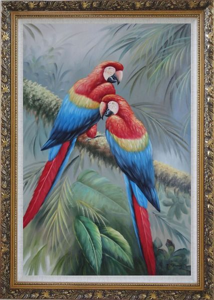 Framed Two Lovely Parrots Singing On a Old Tree Branch Oil Painting Animal Naturalism Ornate Antique Dark Gold Wood Frame 42 x 30 Inches