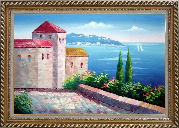 Framed Red Roof House at Mediterranean Serenity Bay Oil Painting Impressionism Exquisite Gold Wood Frame 30 x 42 Inches