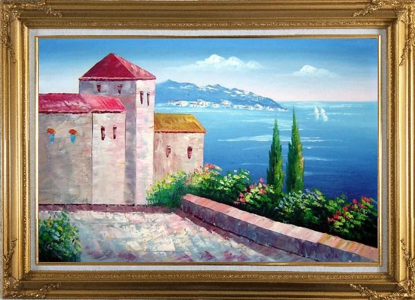 Framed Red Roof House at Mediterranean Serenity Bay Oil Painting Impressionism Gold Wood Frame with Deco Corners 31 x 43 Inches