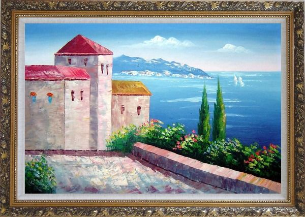 Framed Red Roof House at Mediterranean Serenity Bay Oil Painting Impressionism Ornate Antique Dark Gold Wood Frame 30 x 42 Inches