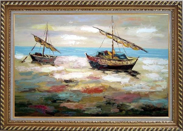 Framed Two Small Boats Dock on Beach Oil Painting Impressionism Exquisite Gold Wood Frame 30 x 42 Inches