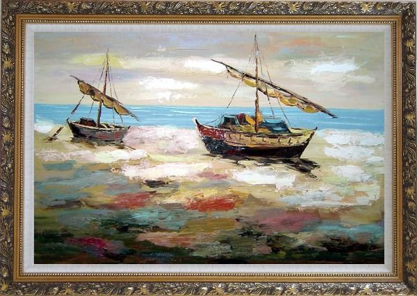 Framed Two Small Boats Dock on Beach Oil Painting Impressionism Ornate Antique Dark Gold Wood Frame 30 x 42 Inches