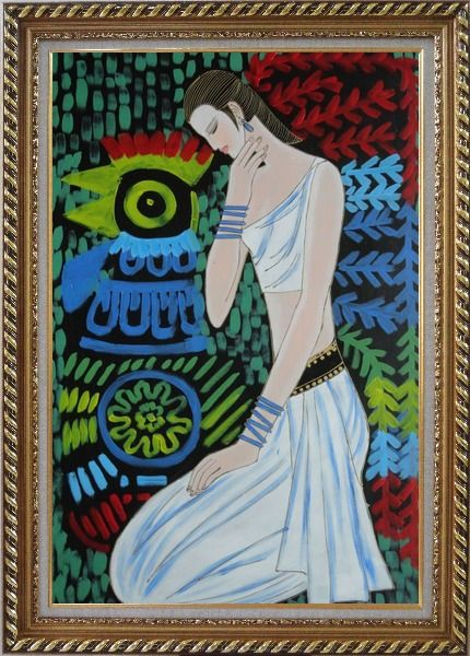 Framed Female Beauty Oil Painting Portraits Woman Modern Exquisite Gold Wood Frame 42 x 30 Inches
