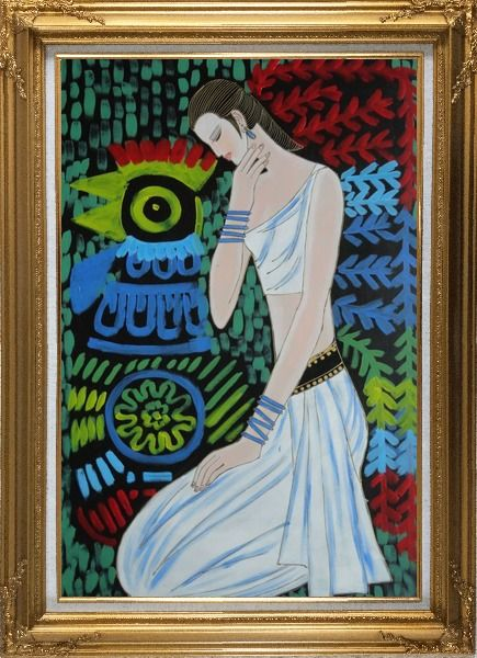 Framed Female Beauty Oil Painting Portraits Woman Modern Gold Wood Frame with Deco Corners 43 x 31 Inches