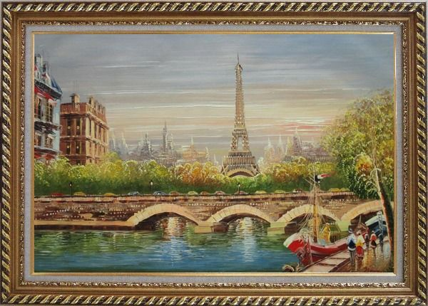 Framed Paris Eiffel Tower River Seine Bridge Boat Oil Painting Cityscape France Impressionism Exquisite Gold Wood Frame 30 x 42 Inches