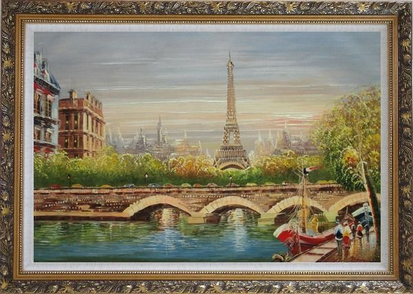 Framed Paris Eiffel Tower River Seine Bridge Boat Oil Painting Cityscape France Impressionism Ornate Antique Dark Gold Wood Frame 30 x 42 Inches