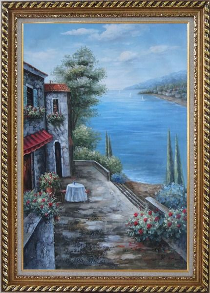 Framed Mediterranean Seashore Retreat Oil Painting Naturalism Exquisite Gold Wood Frame 42 x 30 Inches