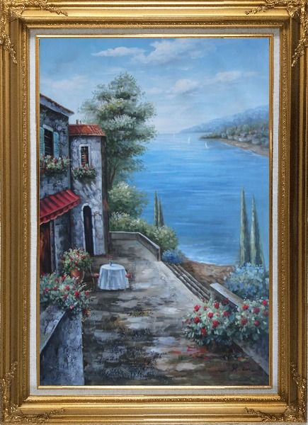Framed Mediterranean Seashore Retreat Oil Painting Naturalism Gold Wood Frame with Deco Corners 43 x 31 Inches