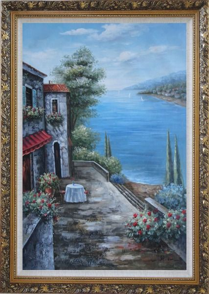 Framed Mediterranean Seashore Retreat Oil Painting Naturalism Ornate Antique Dark Gold Wood Frame 42 x 30 Inches