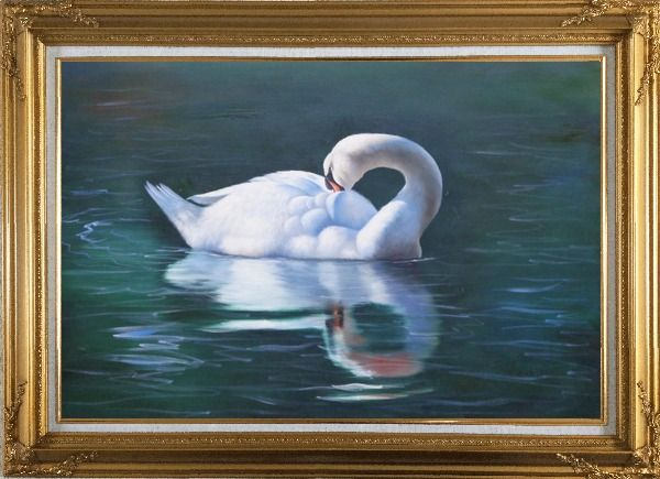 Framed Sleeping Swan in Placid Water Oil Painting Animal Naturalism Gold Wood Frame with Deco Corners 31 x 43 Inches