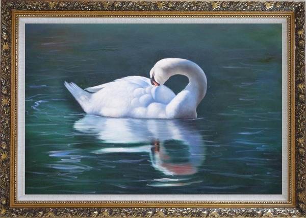 Framed Sleeping Swan in Placid Water Oil Painting Animal Naturalism Ornate Antique Dark Gold Wood Frame 30 x 42 Inches