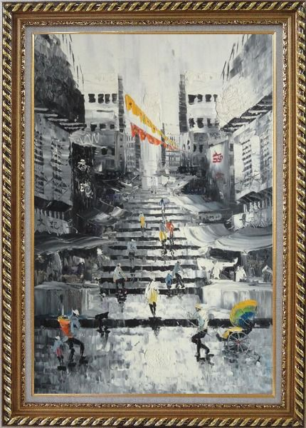 Framed Hong Kong Street Scene in Early 20th Century Main Color streetBlack White Oil Painting Cityscape China Impressionism Exquisite Gold Wood Frame 42 x 30 Inches