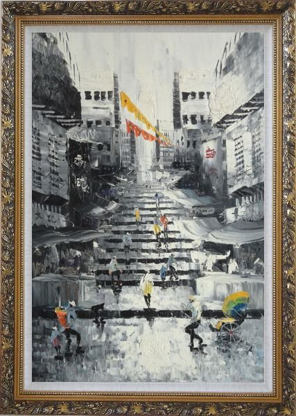 Framed Hong Kong Street Scene in Early 20th Century Main Color streetBlack White Oil Painting Cityscape China Impressionism Ornate Antique Dark Gold Wood Frame 42 x 30 Inches
