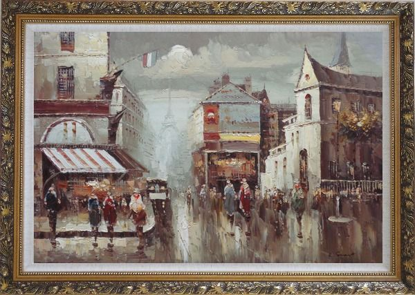 Framed Busy Paris Street Sence Near Eiffel Tower Oil Painting Cityscape France Impressionism Ornate Antique Dark Gold Wood Frame 30 x 42 Inches