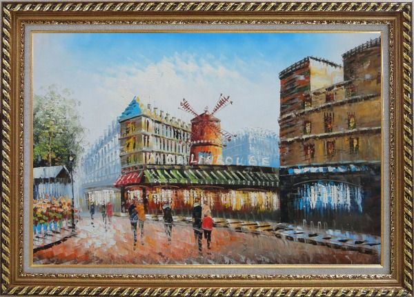 Framed The Moulin Rouge in Paris of France Oil Painting Cityscape Impressionism Exquisite Gold Wood Frame 30 x 42 Inches