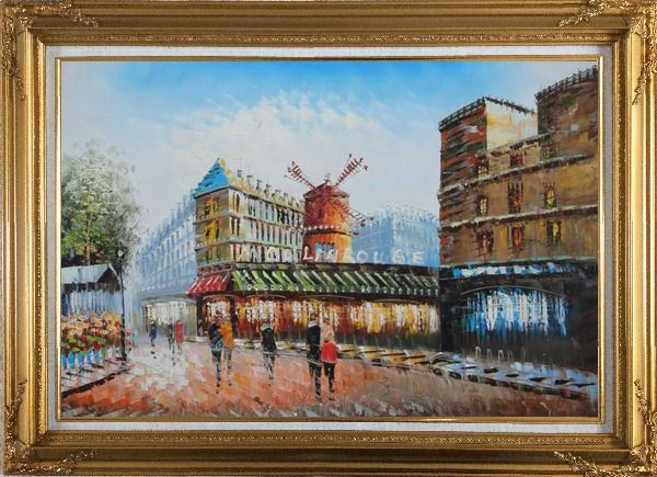Framed The Moulin Rouge in Paris of France Oil Painting Cityscape Impressionism Gold Wood Frame with Deco Corners 31 x 43 Inches